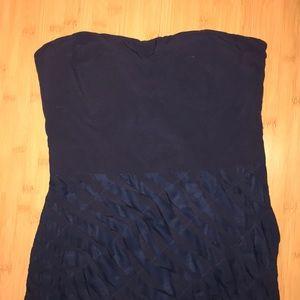Navy Blue Aqua tube top strapless mini dress